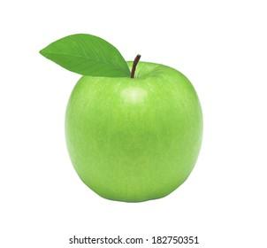 Fresh green apple, isolated on white background