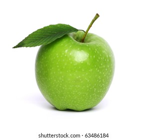 fresh green apple with leaf isolated on white