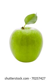 fresh green apple with leaf isolated on the white background