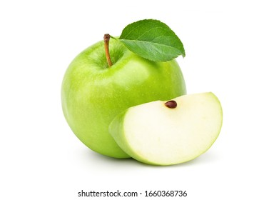 Fresh green apple with green leaf and sliced  isolated on white background. Clipping path.