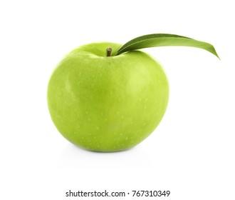 Fresh green apple on white background