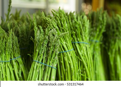 Fresh green asparagus. Healthy eating. Fall harvest, agricultural farming concept (selective focus)