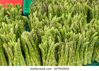 Fresh green asparagus for sale at a market