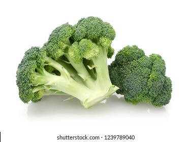 Fresh green broccoli isolated on white background. Studio shot