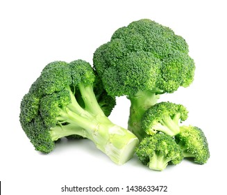 Fresh green broccoli on white background. Organic food