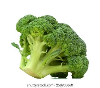 fresh green broccoli on white background