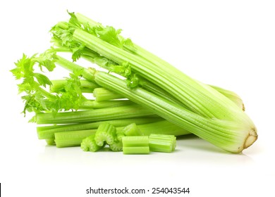 Fresh green celery isolated on white