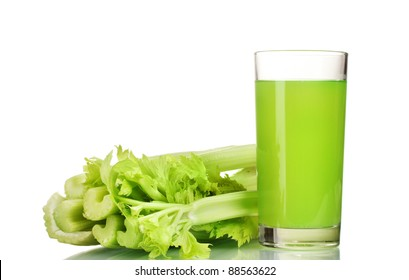 fresh green celery and juice isolated on white