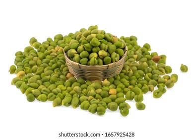 Fresh green Chickpea (Cicer arietinum), Desi variety in bamboo basket on a white background.