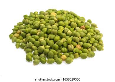 Fresh green Chickpea (Cicer arietinum) on a white background. Scattered Desi variety chickpeas.