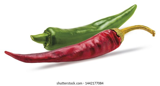 Fresh green chilli pepper and dry red chilli pepper. Isolated on white background.