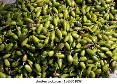 Fresh Green Chillies for Selling in an Indian Vegetables Market