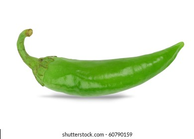 Fresh Green chilly close up isolated on white