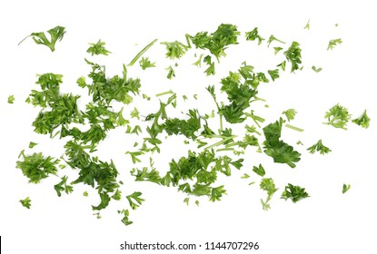 Fresh green chopped parsley leaves isolated on white background and texture, top view