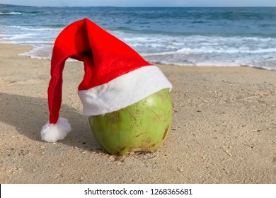 Fresh green coconut in Santa Christmas hat on the beach sand near the sea. Concept winter vacation, new year in tropical destination.