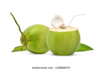 Fresh green coconut with straw ready to drinking isolated on white background.