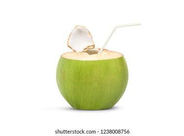 Fresh green coconut with straw ready to drinking isolated on white background, Clipping path.