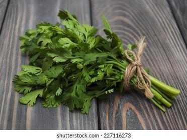 Fresh green coriander on a wooden background