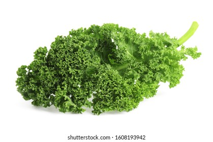 Fresh green kale leaf isolated on white