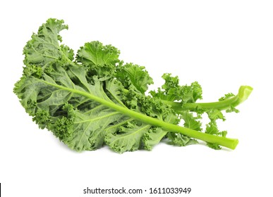 Fresh green kale leaves isolated on white