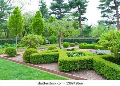Fresh green landscape of formal garden  at spring.