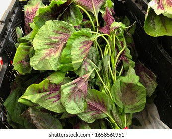 Fresh green leafy vegetables at the fresh produce section of a market.