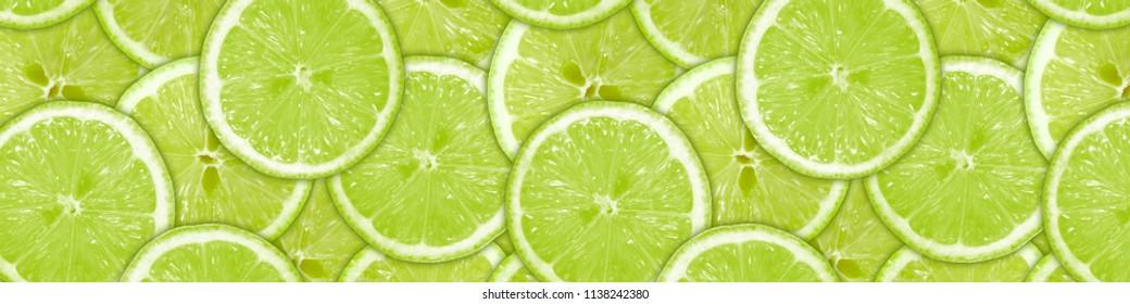 Fresh green lemon panorama. Horizontal 3d Image for wall glass panels in the kitchen (skinali)