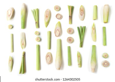 Fresh green lemongrass slices isolated on white background.