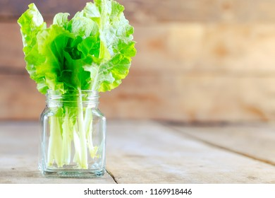 Fresh green lettuce salad in glass jar on wooden table background. vegetarian or healthy eating concept.