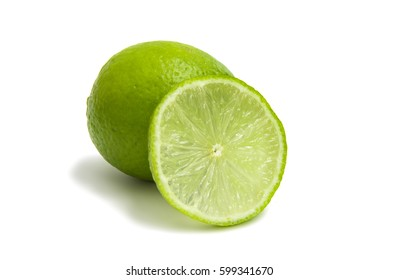 fresh green limes isolated on white background