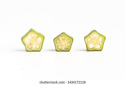 Fresh green okra cut into pieces