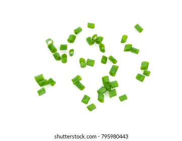 Fresh green onions sliced on white background