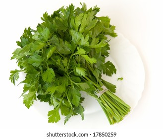Fresh green parsley on a white plate on a white background.