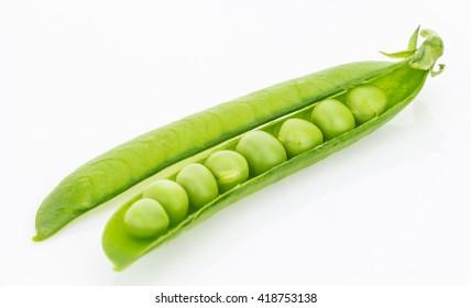 Fresh green pea pod closeup, isolated on white background