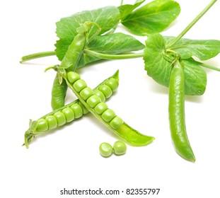 Fresh green pea pod and peas on white background.