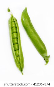 Fresh green pea pods on white background