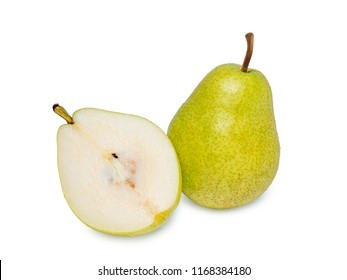 Fresh green pear half isolated on white background as package design element,green pear fruits isolated on white background,Green Pear on a White Background