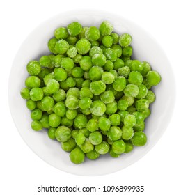 Fresh green peas in bowl on white. Top view.  Isolated with clipping path.