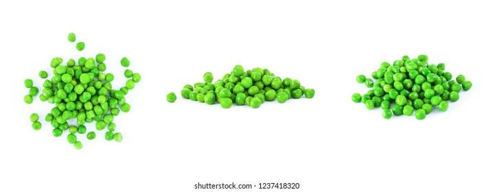 Fresh green peas set, isolatiion on white