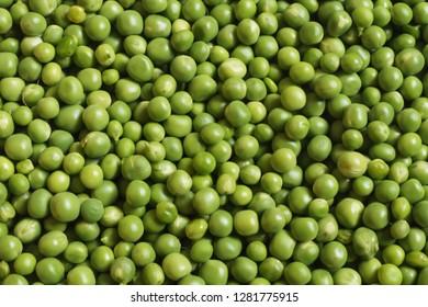 fresh green peas top view