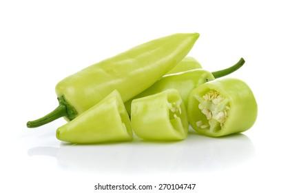 Fresh Green pepper isolated on white background