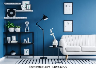Fresh green plants, candles and books placed on a black metal rack in blue living room interior with simple posters and bright sofa