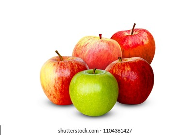Fresh green and red apples,  group, fruits  isolated on white background