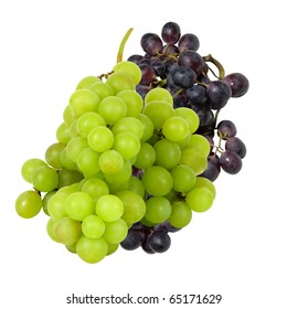 fresh green and red grapes on a white background