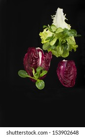 Fresh green and red leafy salad isolated on black background