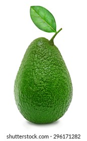Fresh green ripe avocado whith leaf isolated on white background. Design element for product label, catalog print, web use.