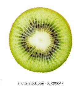 Fresh green ripe kiwi slice isolated on white background