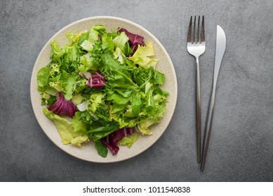 Fresh green salad mix with lettuce and arugula on stone table. diet concept background. vegan food. top view