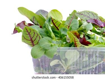 Fresh green salad mix in plastic packaging.