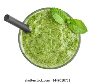 Fresh green smoothie with lime, spinach and celery isolated on white background, top view